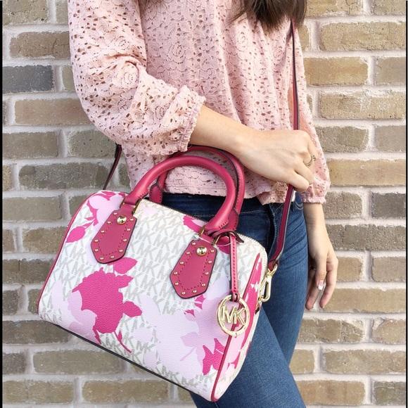 3927904f4951 Michael Kors Bags | Aria Small Top Zip Satchel Pink Flora | Poshmark